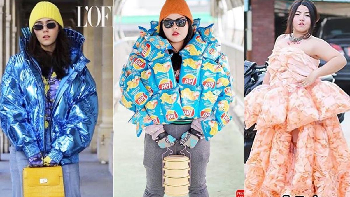 姐這叫邊走邊吃的「食尚」!泰國網紅「低成本Cosplay」超有創意,蝦餅組成的禮服、波卡耳飾怎麼越看越餓~