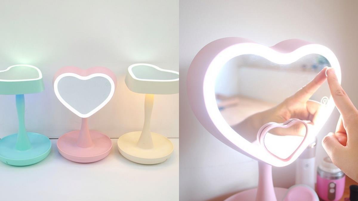 比皇后的魔鏡還要浮誇可愛!女孩必備居家單品「粉彩愛心化妝鏡」,超強收納&自帶光芒CP值超高!