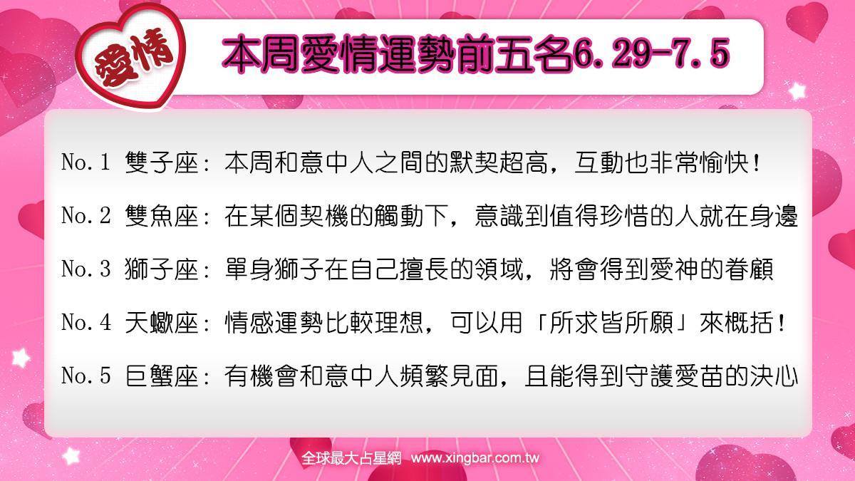 12星座本周愛情吉日吉時(6.29-7.5)