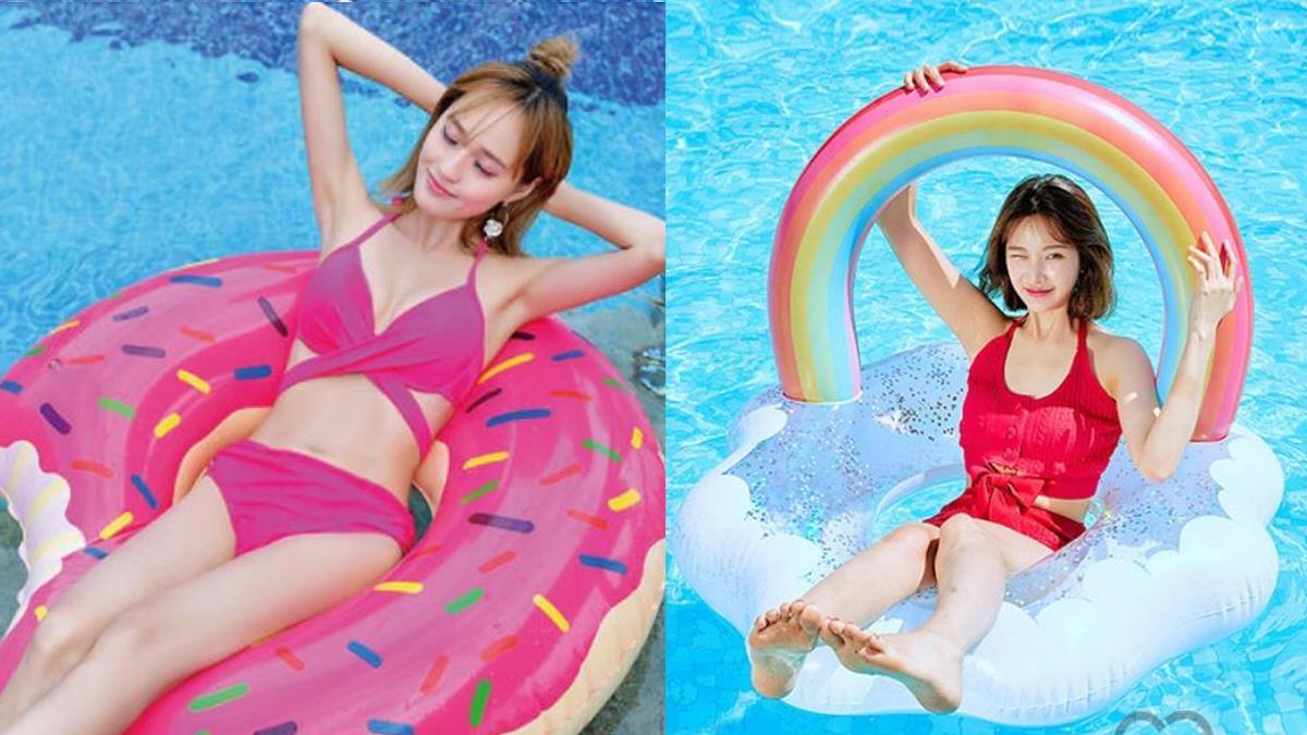 每到夏天我要去海邊~回頭率超高女孩必備「吃貨泳圈」,甜甜圈、披薩任你大玩食物♥