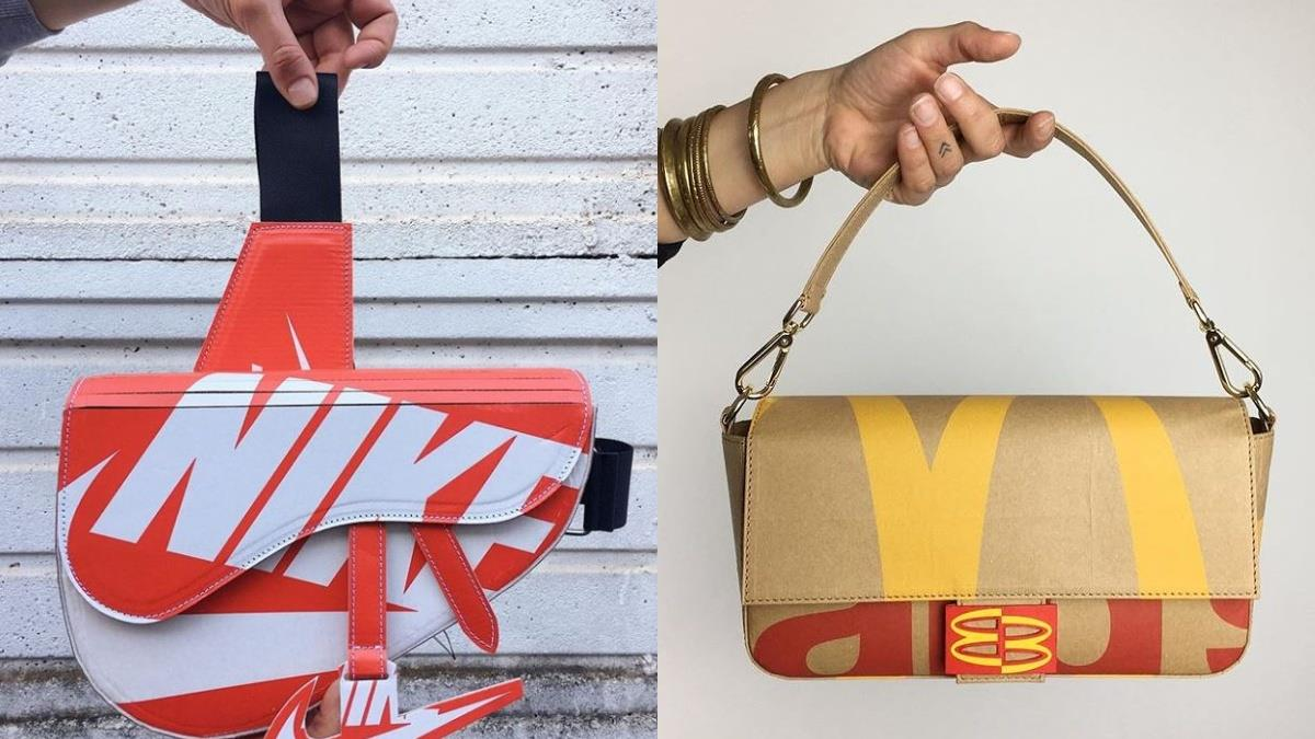 垃圾也能成為名牌包!情侶創意手作「超時尚環保包」,麥當勞紙袋、鞋盒全變時髦的必備單品♥