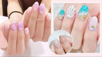 悠遊美人魚!日系「5款沁涼系美甲靈感清單」唯美的立體珠光貝殼讓指尖成為璀璨焦點!