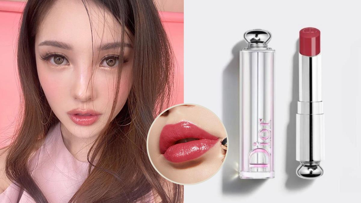 化妝必備的寵兒♥DIOR超顯白口紅「#白桃豆沙」色號,70%潤唇精華讓水潤和氣勢都MAX~