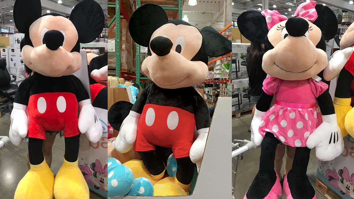 米奇、米妮跟人一樣大!好市多巨無霸「60吋迪士尼玩偶」好抱超療癒,最萌身高差根本是小男友啦~