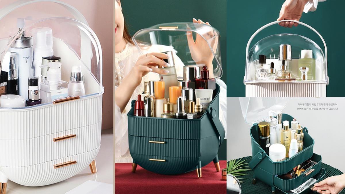 化妝品不會再離奇失蹤惹!超高顏值「復古多層化妝品收納盒」,超大容量X質感皇家色系太美膩~