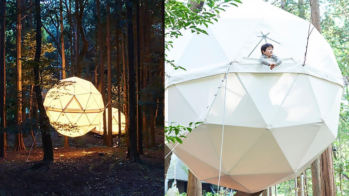 來去公園住一晚!靜岡「IN THE PARK」森林中的球形帳篷