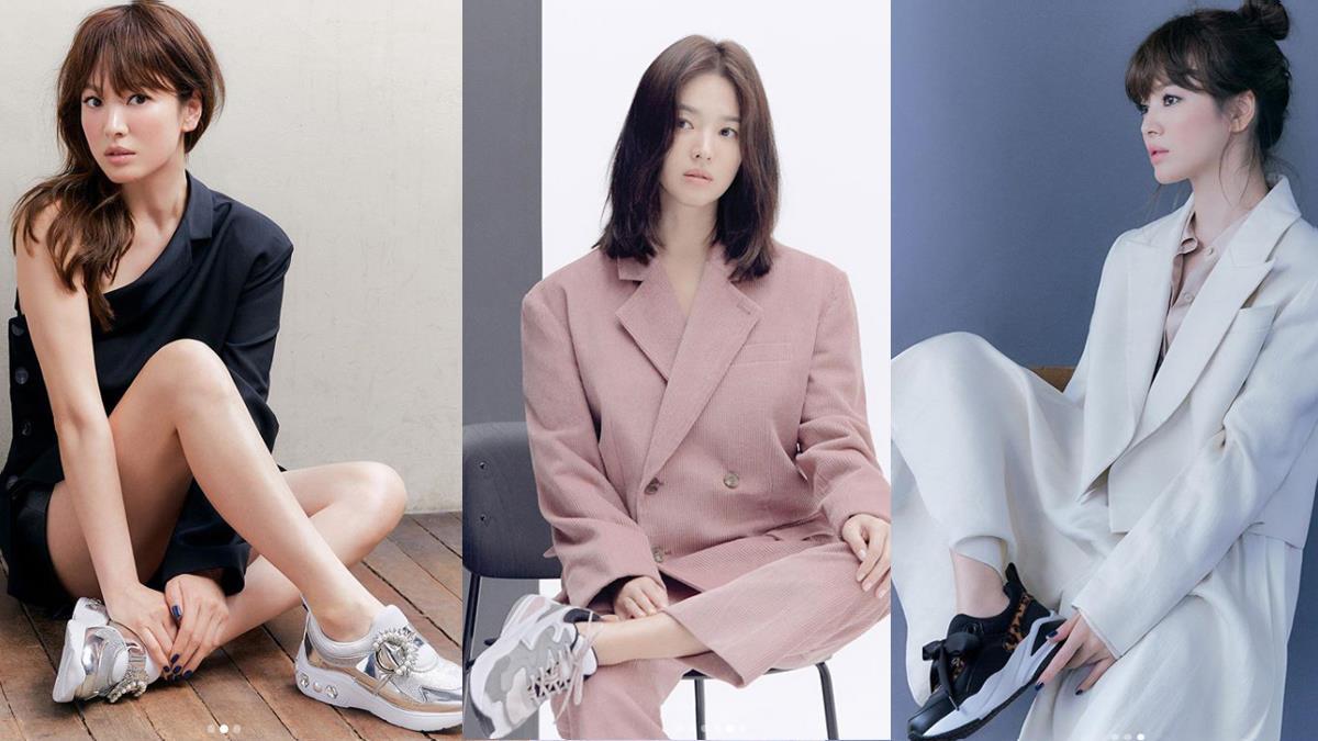 誰說洋裝一定要配高跟鞋!跟著宋慧喬學超質感「球鞋穿搭」,西裝X球鞋穿出韓系率性時尚♥