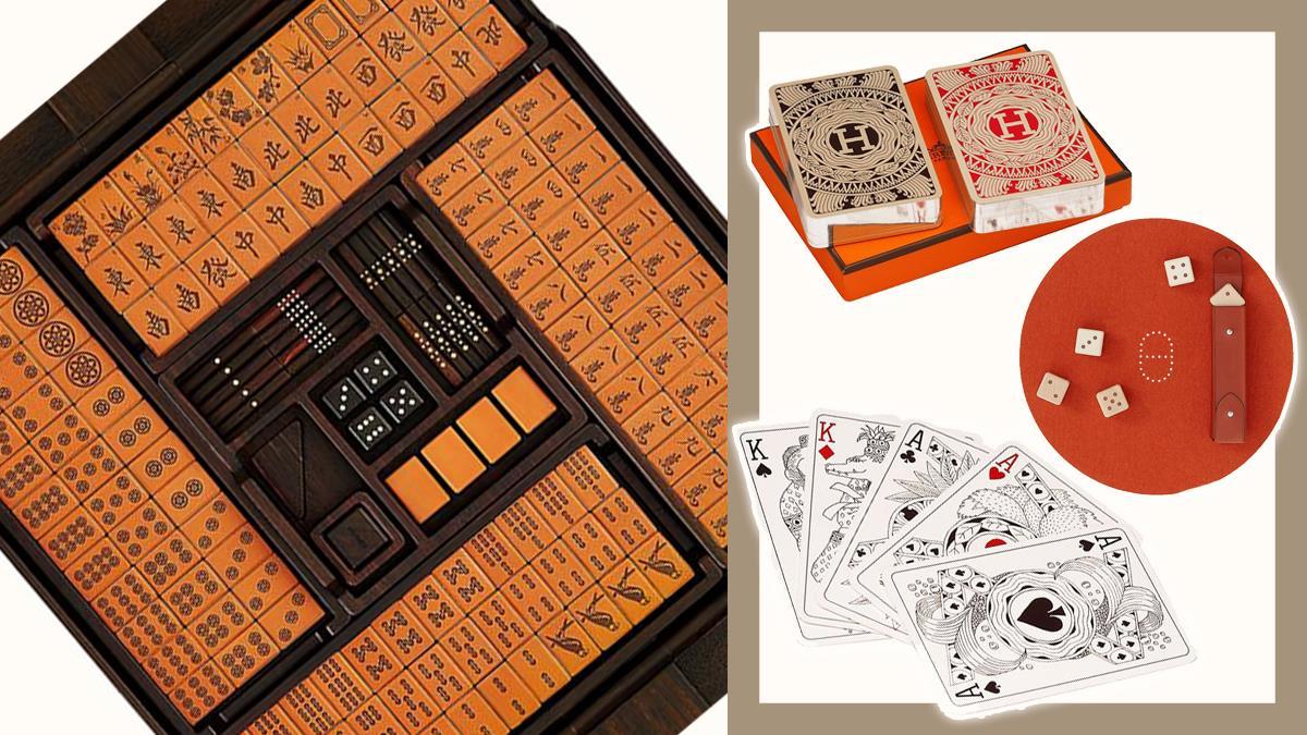 用這組牌,輸錢也甘願!愛馬仕絕頂奢華「皮革麻將組」,檀木骰子、撲克牌每樣都有賭王氣場!