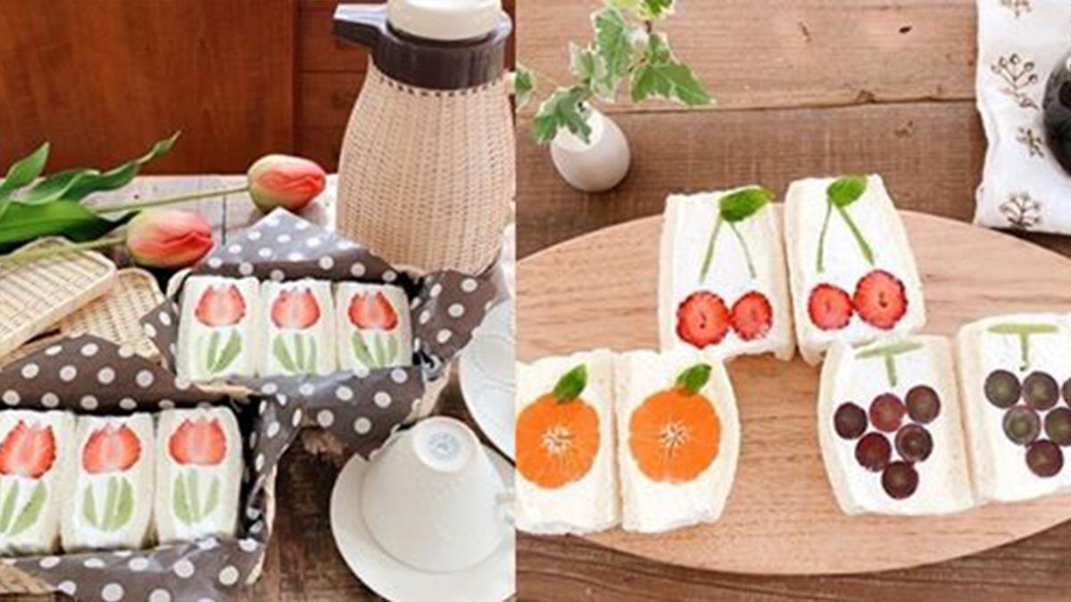 絕美水果花!3步驟立馬做出爆紅「水果花三明治」,廚房終結者也能簡單做出,成品美到捨不得吃啊~