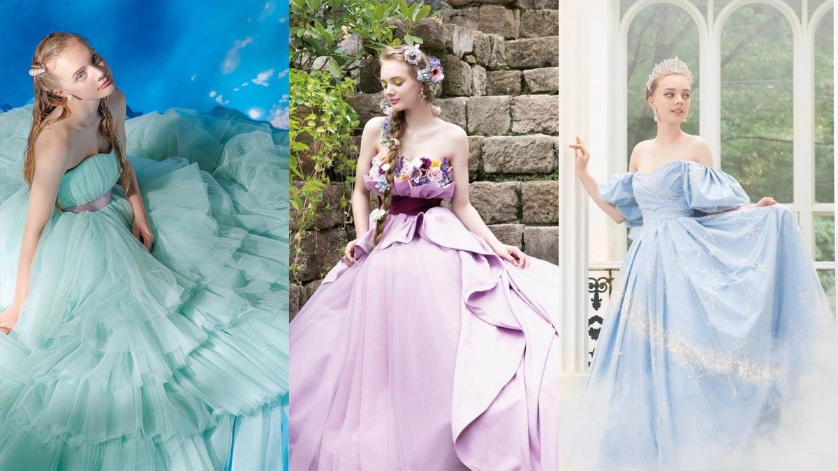 屬於公主的浪漫婚禮!日本推出「迪士尼公主夢幻婚紗」,羅蘭紫、冰晶藍婚紗美到讓人屏息♥