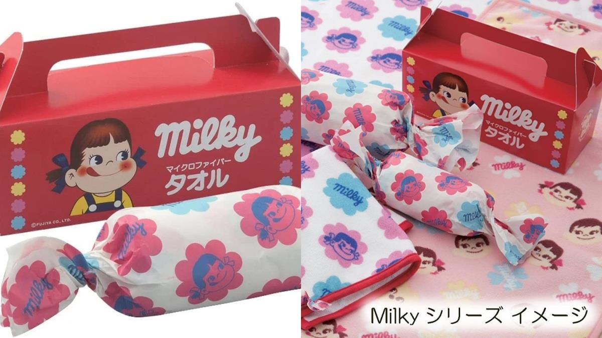 蓋上會聞到甜甜糖果香嗎♥不二家推出「牛奶妹糖果毛毯」,點心盒跟糖果包裝紙超有少女心~