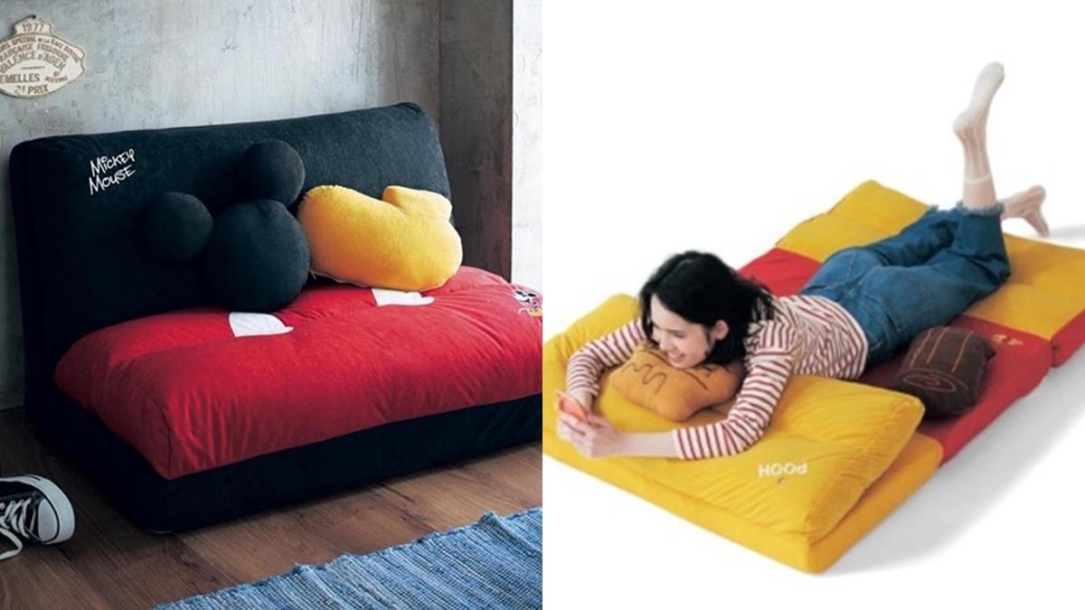 躺在米奇身上追劇囉!迪士尼「懶人沙發床」4段式調整隨你耍廢,還附上超Q抱枕&小被被♡