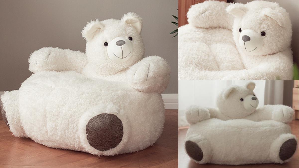 就想在熊熊懷裡耍廢!治癒系「絨毛小白熊懶人椅」宛如巨大玩偶,被大手手環抱真的好幸福~