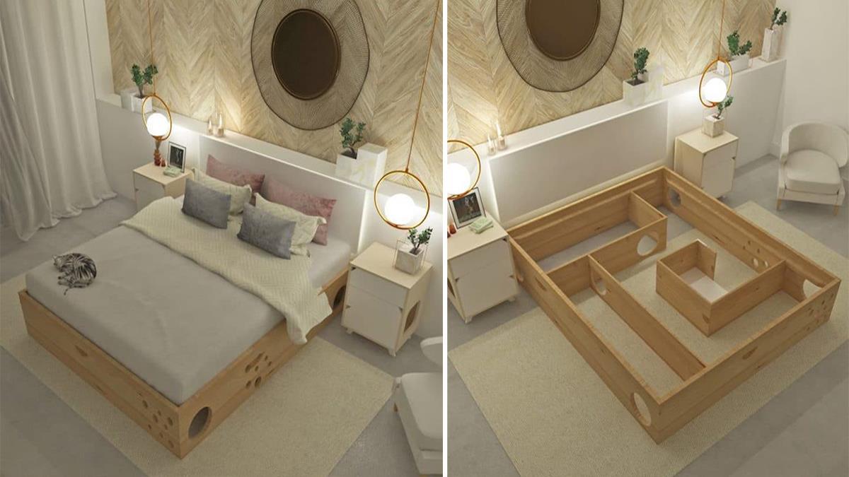 讓貓咪樂歪的家具設計!哥倫比亞迷宮床架 Gatrimonial