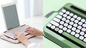 咖咖的打字聲太療癒!絕美「復古打字機鍵盤」可搭平板超方便,薄荷綠復古款式一秒回到舊時光~