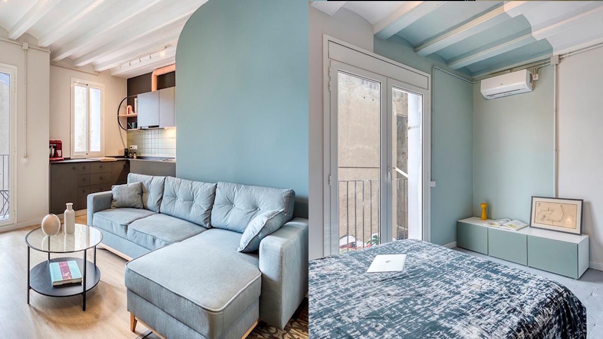 置身寧靜棉花糖色空間!「湖水藍X灰綠」居家配色讓小屋變寬敞,點綴暖色系配件更清新脫俗~