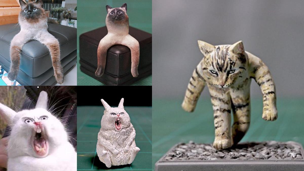 貓咪只有2隻腳?!「謎樣貓貓、梗圖」被還原成模型啦,連被按下暫停鍵的步美都有!