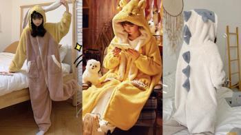 起床幹嘛,倫家是動物欸!寒流耍廢必備「Q萌造型保暖睡衣」,與男友一人一套cos小怪獸剛好啊💓