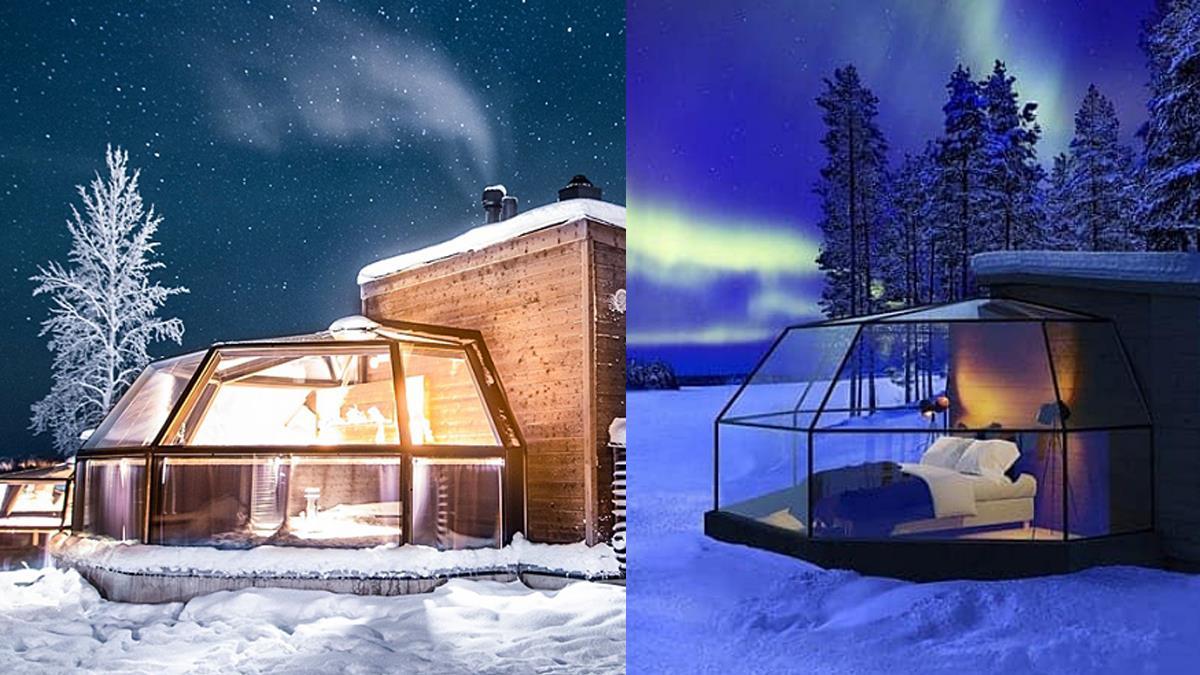 一生好想到這賞雪一次!秘境「極圈透明屋住宿」美到發呆,開窗就是無邊際的極光和浪漫白雪~