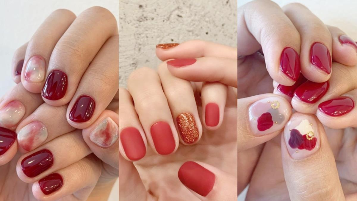酒紅色指尖尾牙抽獎更強運!7款「幸運紅」新年美甲提案,超顯白、秋冬穿搭不違和!