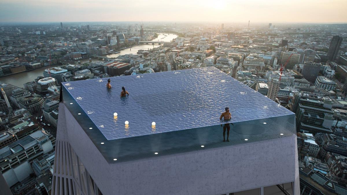 邊游邊體驗上帝視角!超神「無邊際透明高空泳池」,360度全景視野,忍著懼高症也想親身體驗!