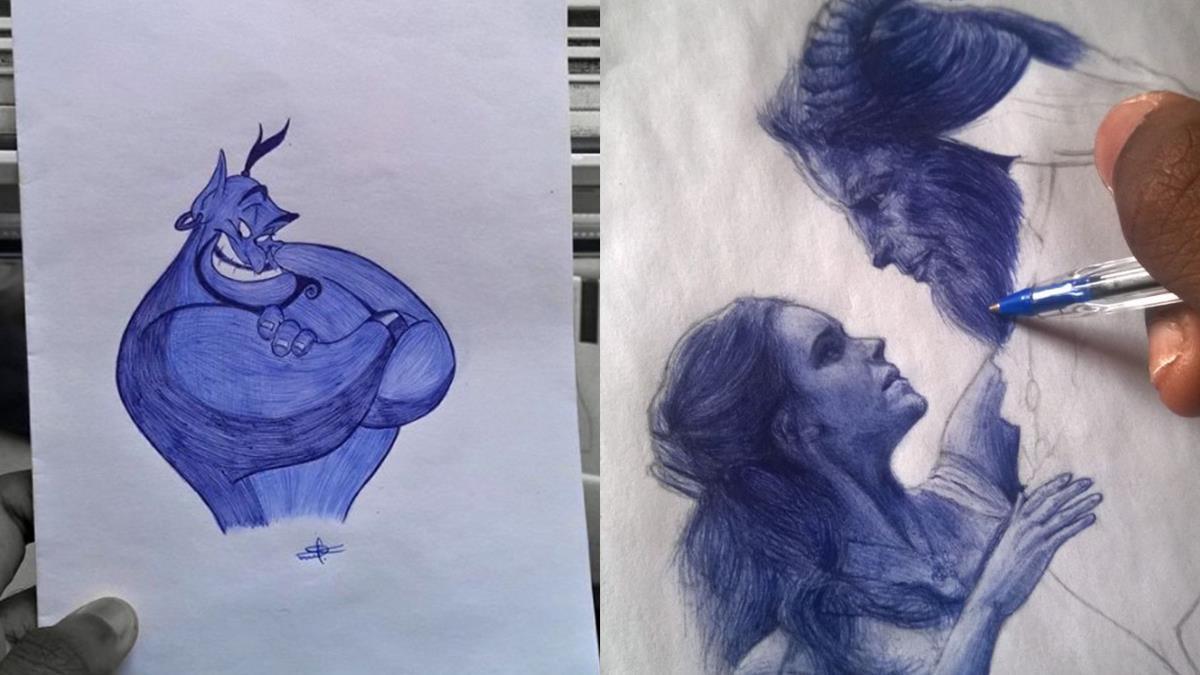 10元藍色原子筆就能畫出《美女與野獸》!超強原子筆畫作,原來從小畫課本是在培養技能?