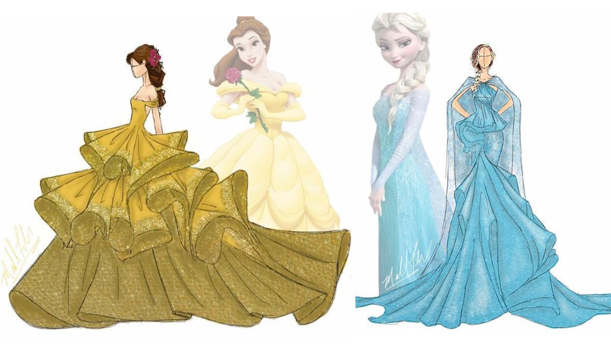 你穿就是貝兒本人了!以迪士尼公主服為靈感的時尚設計師,愛麗兒這套根本完美詮釋丈母娘啊?