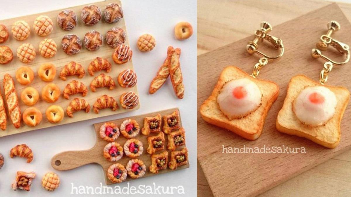 把波蘿麵包戴在身上會飄出麵包味嗎?各種迷你麵包袖珍飾品,連打蛋的那瞬間都超擬真!