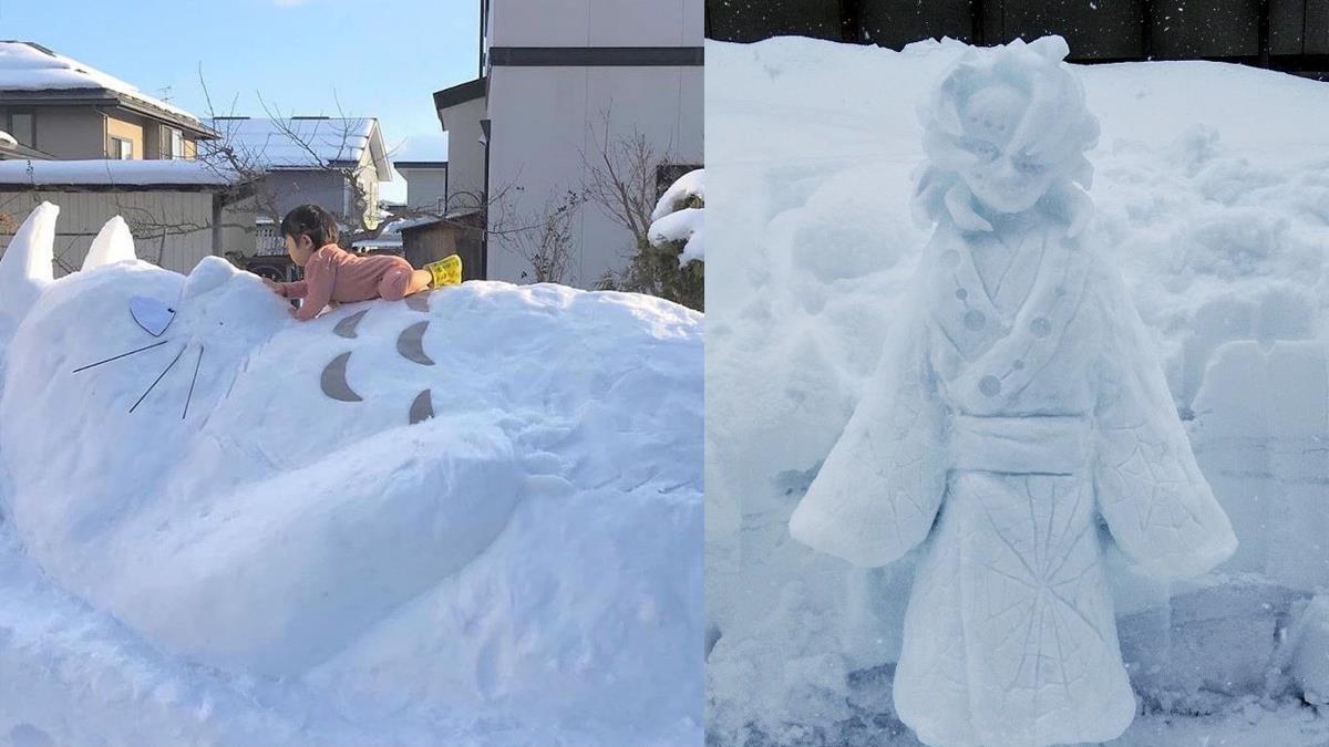 連《鬼滅》下弦鬼都做得出來!2021日本雪雕達人「巨型作品太驚人」,吉卜力龍貓居然還能點燈啊~