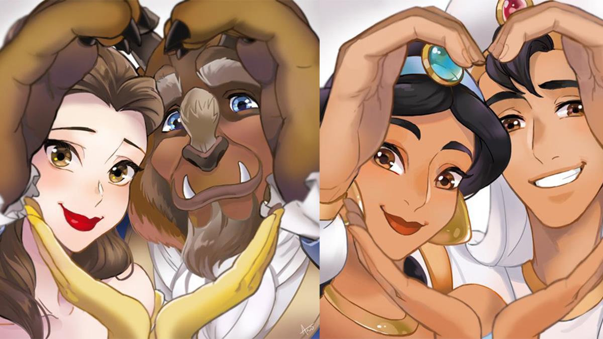 連霸氣兇猛的野獸比起愛心也很有愛!迪士尼CP超閃拍照姿勢,仙度瑞拉是當婚紗照在拍吧?