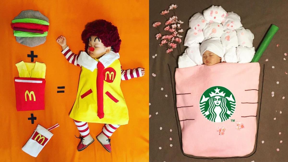 新口味星巴客咖啡你敢來一杯嗎?趁寶寶睡著日本媽媽大玩萌娃食物COS秀,草莓口味的POCKY表情也太療癒了吧~