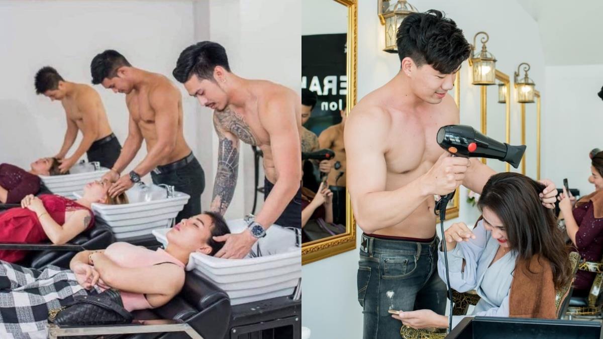 眼睛不知道要看哪裡啦!髮廊超狂「大肌猛男上空」幫妳整理秀髮,還能加碼獨家服務是逼人鼻血嗎!