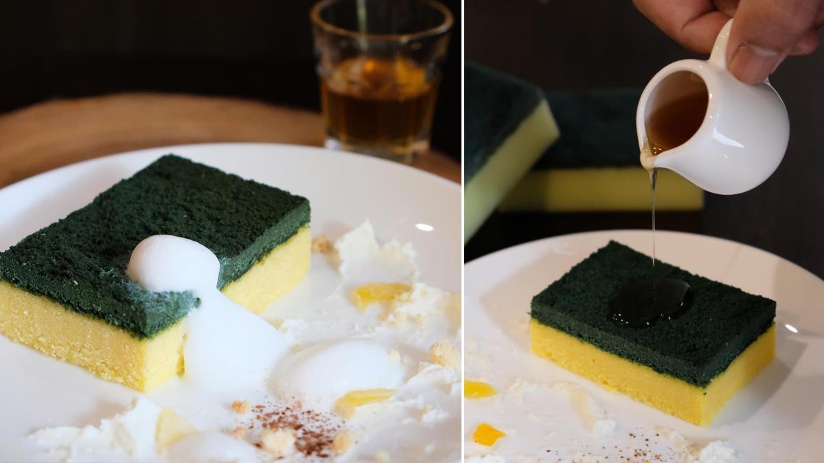洗盤子的既視感!咖啡廳打造超真實「菜瓜布蛋糕」,邊緣起毛球、加上洗碗精&泡沫更好吃?!