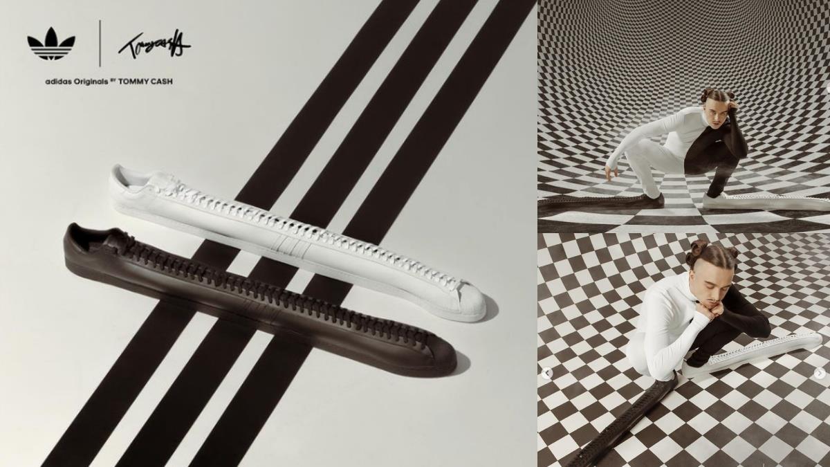 為巨人專屬訂製的球鞋?!adidas聯名推「世界最長小白鞋」,綁完鞋帶一天一夜就過了XD