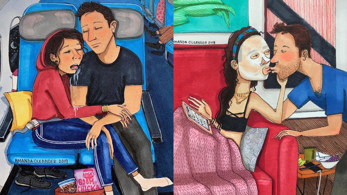 偶包早就不存在了!插畫家畫出「情侶無聊幸福小日子」:熱戀期過後曬醜樣、連面相都越來越像?!