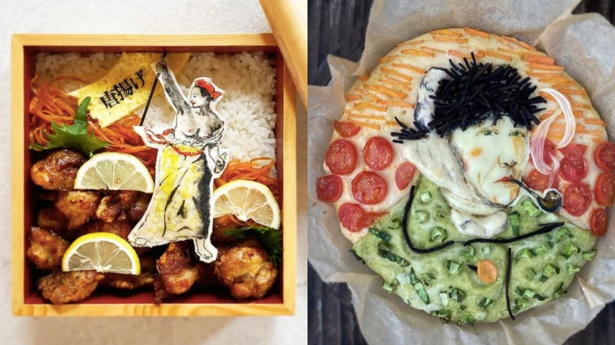 唐揚雞變自由旗幟象徵?日本「超強便當藝術家」把便當變畫布,梵谷自畫像也可以是佛卡夏麵包~