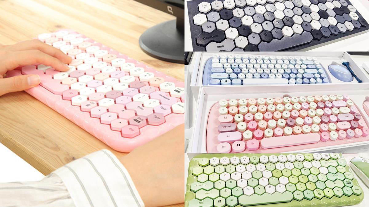 打多少字都願意!超可愛「六角形鍵盤」推特爆紅,蜂巢造型+馬卡龍色調讓辦公超療癒♥