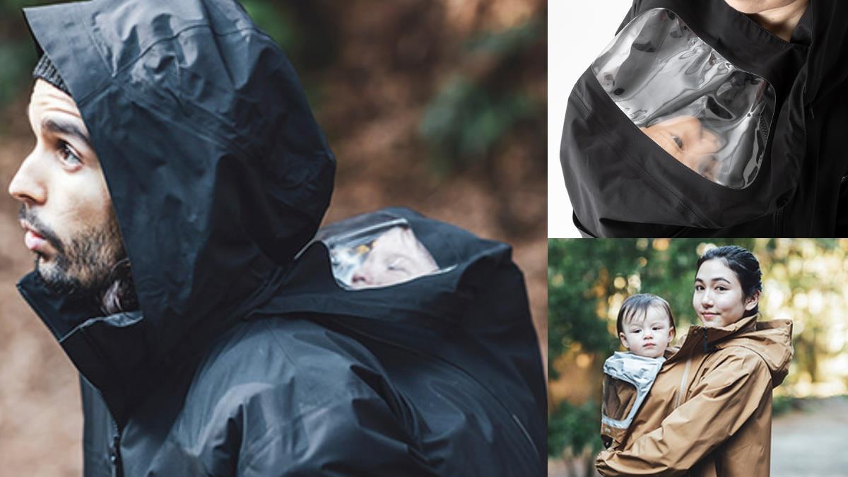 下雨天溜小孩輕而易舉!北臉新款「嬰兒袋雨衣」爸媽都能穿,貝比乖乖躲裡面、還能開窗透透氣~