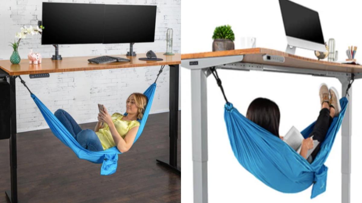 辦公室補眠神器!「桌下吊床」讓人不用再趴著午睡,在公司也能腳翹高高睡到流口水~