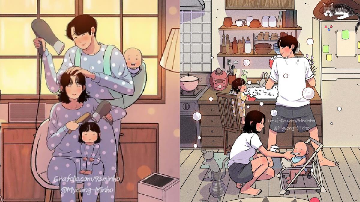 有了家庭還是甜蜜蜜~韓國插畫家「婚後夫妻日常」,就算有了小孩、偶爾也要回到情侶模式♥