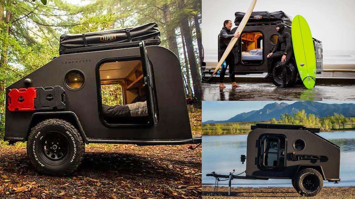 整座山林你最飛炫!「太陽能露營拖車」霧面酷黑超高顏值,大床鋪&料理平台讓露營度假啊~