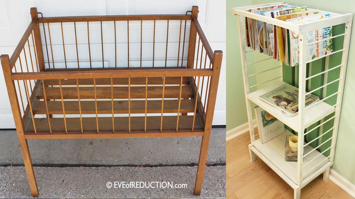 至少能再多用5年!沒用的嬰兒床「幾步簡單變收納架」,放書、收玩具方便又省錢~