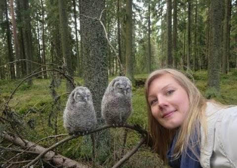 她原本以為發現了兩隻睡覺中的貓頭鷹,但當鏡頭移開時,才發現是兩隻愛搶鏡的傢伙~