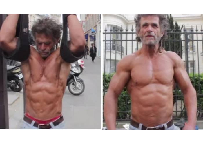 這個生活在街頭的50歲流浪中年男證明:只要有心人人都能練出八塊肌!