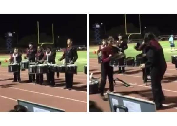 樂儀隊鼓手突然在表演中丟下樂器,殊不知他真正的才藝才要開始讓全場球迷都HIGH翻~
