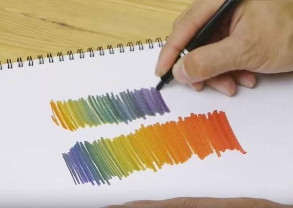 完全不需要工具!舊的螢光筆重複兩次同樣動作,就能變身「彩虹螢光筆」?