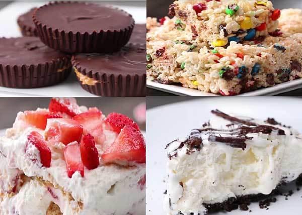 「三種材料全加到碗裡,再放進冰箱!」 學會這個步驟竟然就能輕鬆完成四種免烤甜點?