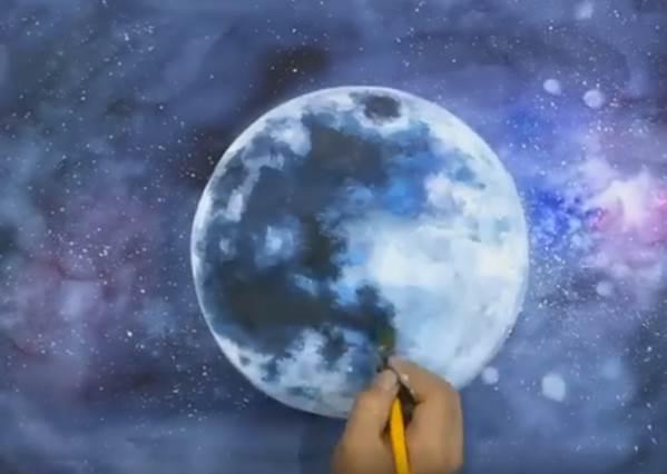 絕美夜景!神人用水彩畫出擬真超級月亮