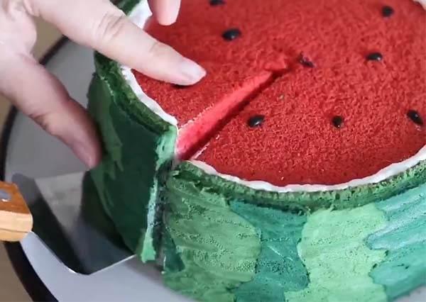 這西瓜怎麼吃起來特蓬鬆?超逼真西瓜蛋糕教學