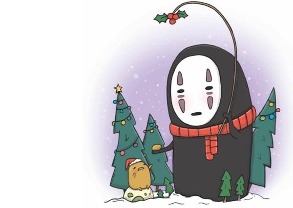 原來今年無臉男是跟蛋黃哥一起過聖誕節?卡通人物全換上耶誕裝,但龍貓那件確定不會太緊嗎!